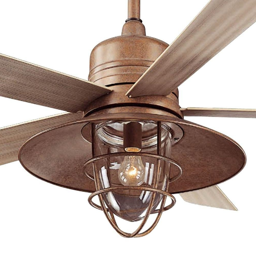 Rustic Outdoor Ceiling Fans With Lights With 2019 Hampton Bay Metro 54 In. Rustic Copper Indoor/outdoor Ceiling Fan (Gallery 3 of 20)