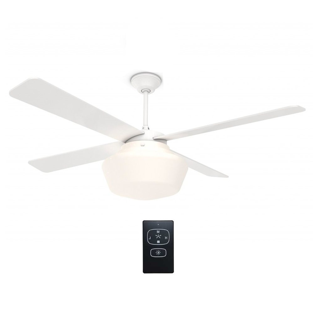 "Schoolhouse Ceiling Fan Gloss White With Remote 52"" – Eid Fans With Famous Outdoor Ceiling Fans With Schoolhouse Light (View 9 of 20)"
