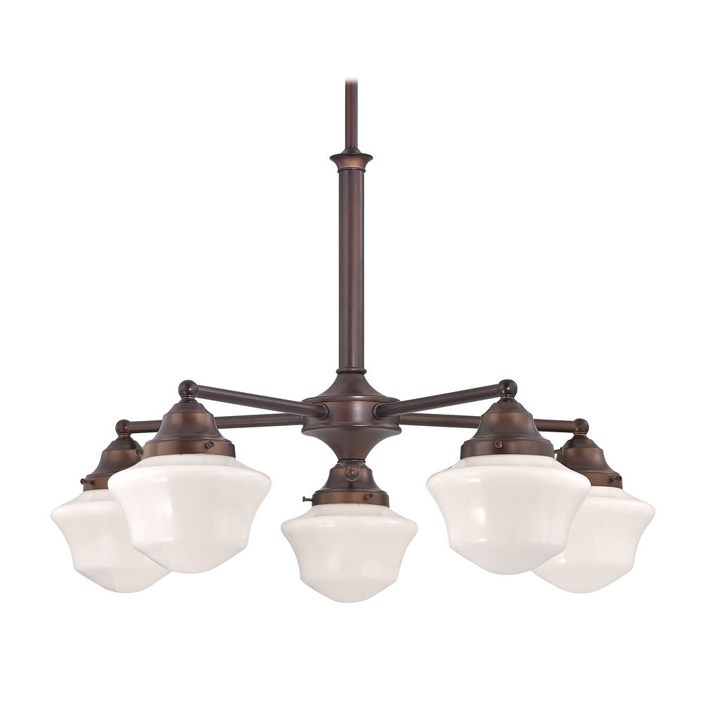 Schoolhouse Chandelier With Five Lights In Bronze Finish (View 7 of 20)