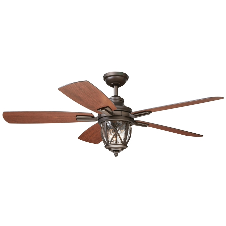 Shop Allen + Roth Castine 52 In Rubbed Bronze Indoor/outdoor Downrod Throughout Newest Indoor Outdoor Ceiling Fans With Lights And Remote (View 6 of 20)