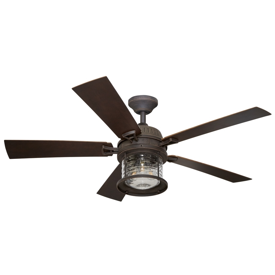 Shop Allen + Roth Stonecroft 52 In Rust Indoor/outdoor Downrod Or Pertaining To Most Up To Date Outdoor Ceiling Fans With Dimmable Light (View 14 of 20)