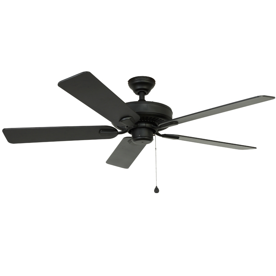 Shop Harbor Breeze Classic 52 In Matte Black Downrod Mount Indoor Regarding Current Black Outdoor Ceiling Fans (View 15 of 20)