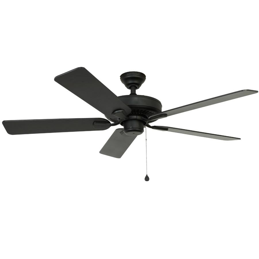 Shop Harbor Breeze Classic 52 In Matte Black Downrod Mount Indoor Regarding Current Black Outdoor Ceiling Fans (View 17 of 20)
