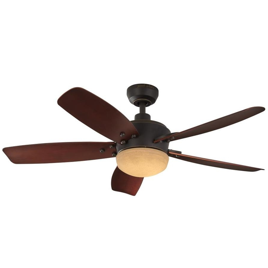 Shop Harbor Breeze Saratoga 48 In Oil Rubbed Bronze Led Indoor Throughout 2018 Outdoor Ceiling Fans With Dimmable Light (View 3 of 20)