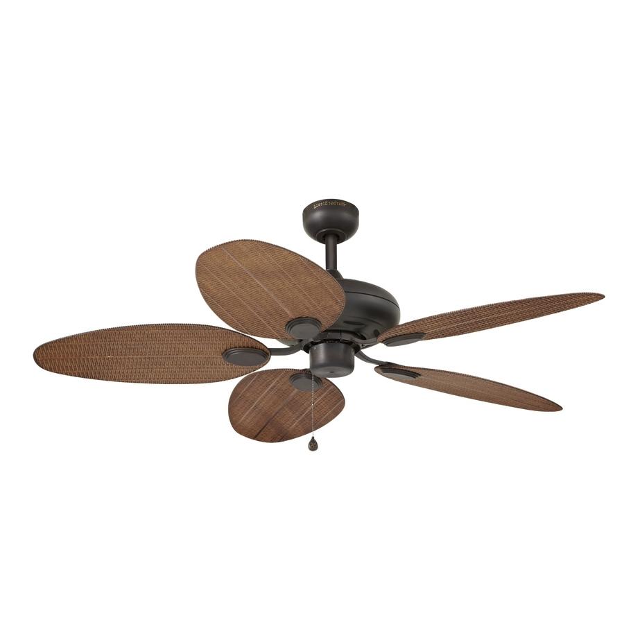 Shop Harbor Breeze Tilghman 52 In Bronze Indoor/outdoor Ceiling Fan Regarding Widely Used Wicker Outdoor Ceiling Fans (View 9 of 20)