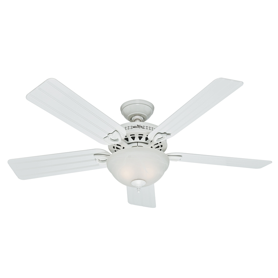 Shop Hunter Beachcomber 52 In White Indoor/outdoor Ceiling Fan With Within Well Known White Outdoor Ceiling Fans (View 10 of 20)