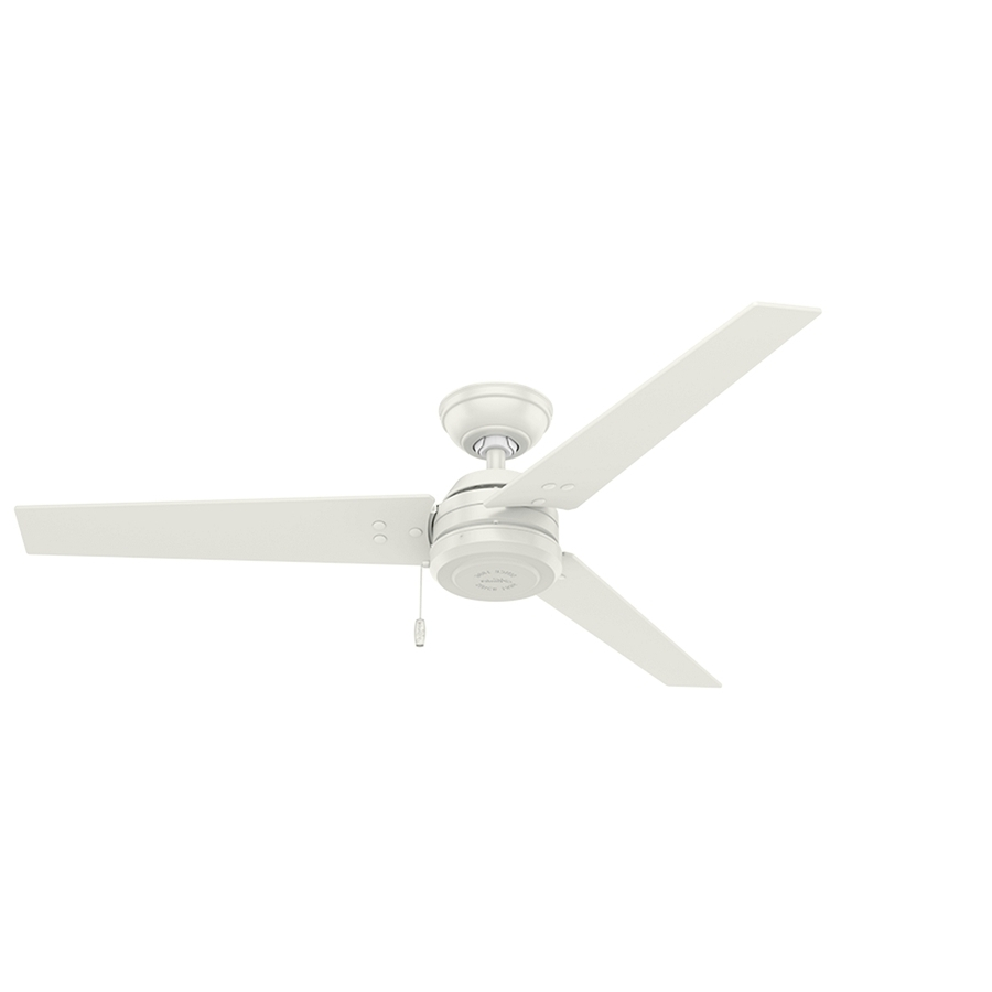 Shop Hunter Cassius 52 In White Indoor/outdoor Ceiling Fan (3 Blade Pertaining To Popular Outdoor Ceiling Fans With Long Downrod (View 17 of 20)