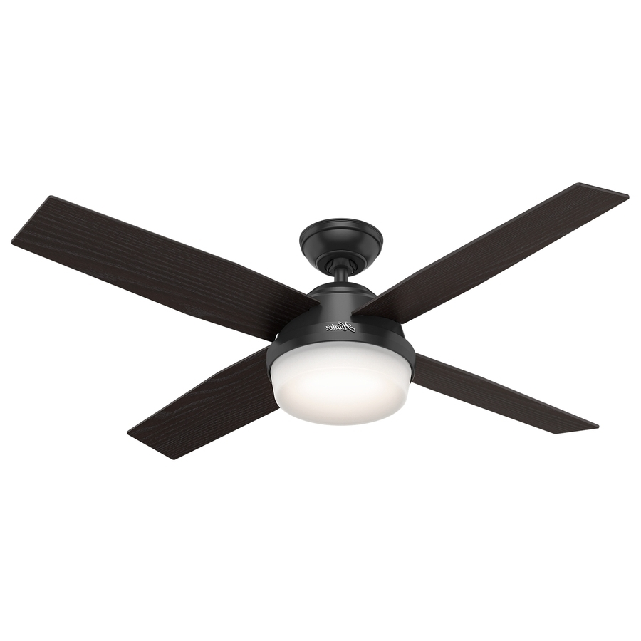 Shop Hunter Dempsey 52 In Matte Black Indoor/outdoor Ceiling Fan Regarding Trendy Black Outdoor Ceiling Fans (View 5 of 20)