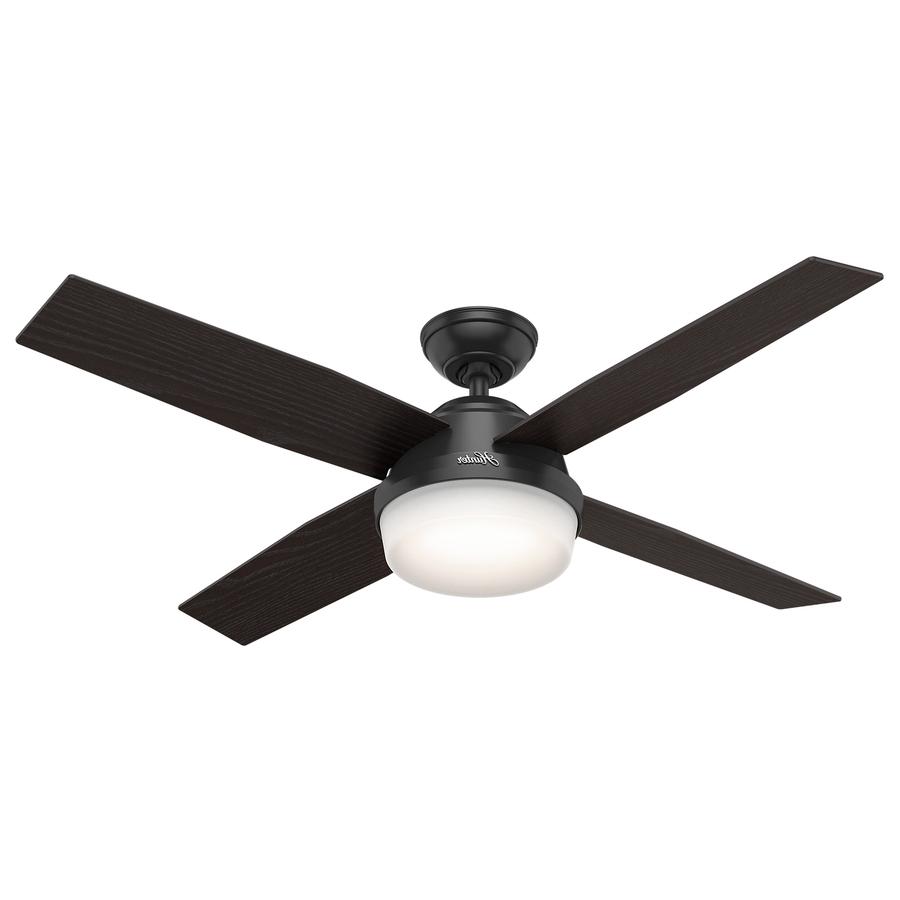 Shop Hunter Dempsey 52 In Matte Black Indoor/outdoor Ceiling Fan Regarding Trendy Black Outdoor Ceiling Fans (View 18 of 20)