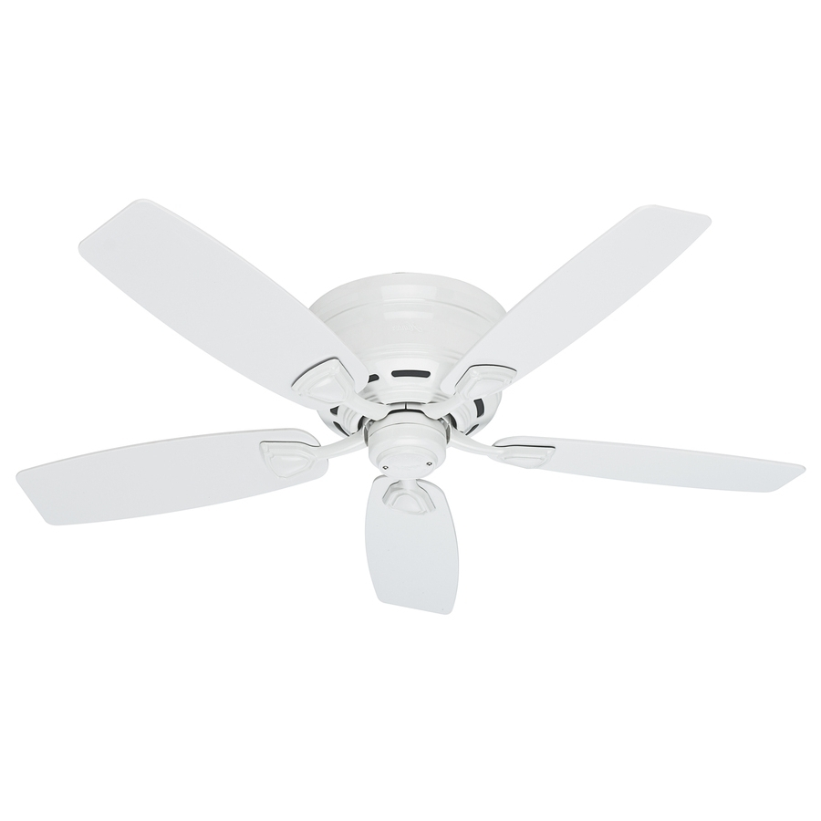 Shop Hunter Sea Wind 48 In White Indoor/outdoor Flush Mount Ceiling Intended For Most Current Outdoor Ceiling Fans By Hunter (View 19 of 20)