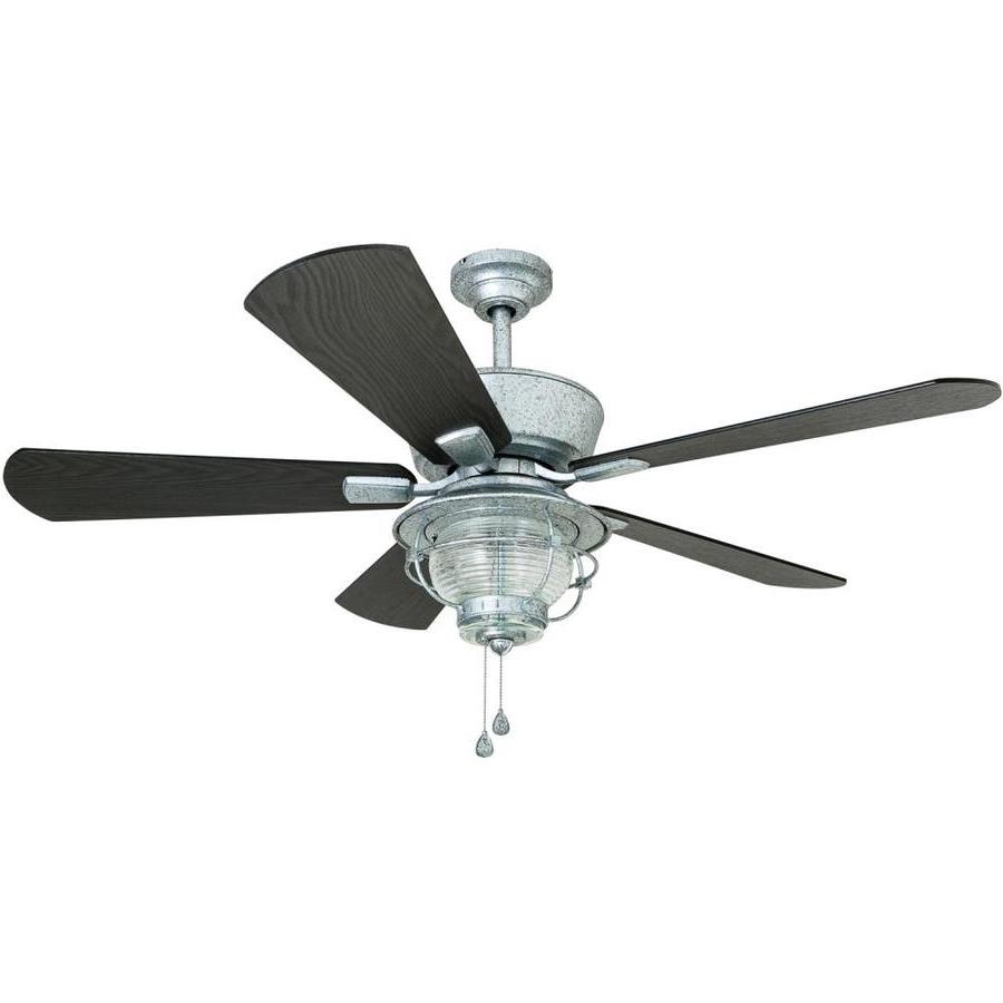 Trendy Shop Harbor Breeze Merrimack 52 In Galvanized Indoor/outdoor Downrod Regarding Galvanized Outdoor Ceiling Fans (View 17 of 20)