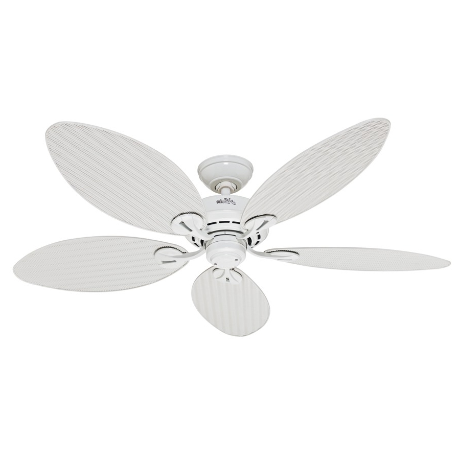 Trendy Shop Hunter Bayview 54 In White Indoor/outdoor Ceiling Fan At Lowes Within Outdoor Ceiling Fans With Leaf Blades (View 17 of 20)