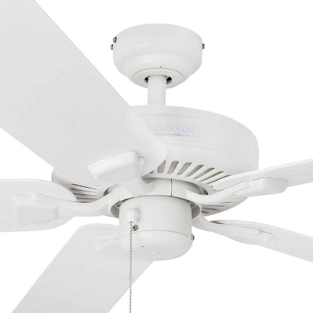Trendy White Outdoor Ceiling Fans Inside Honeywell Belmar Outdoor Ceiling Fan, White Finish, 52 Inch –  (View 14 of 20)