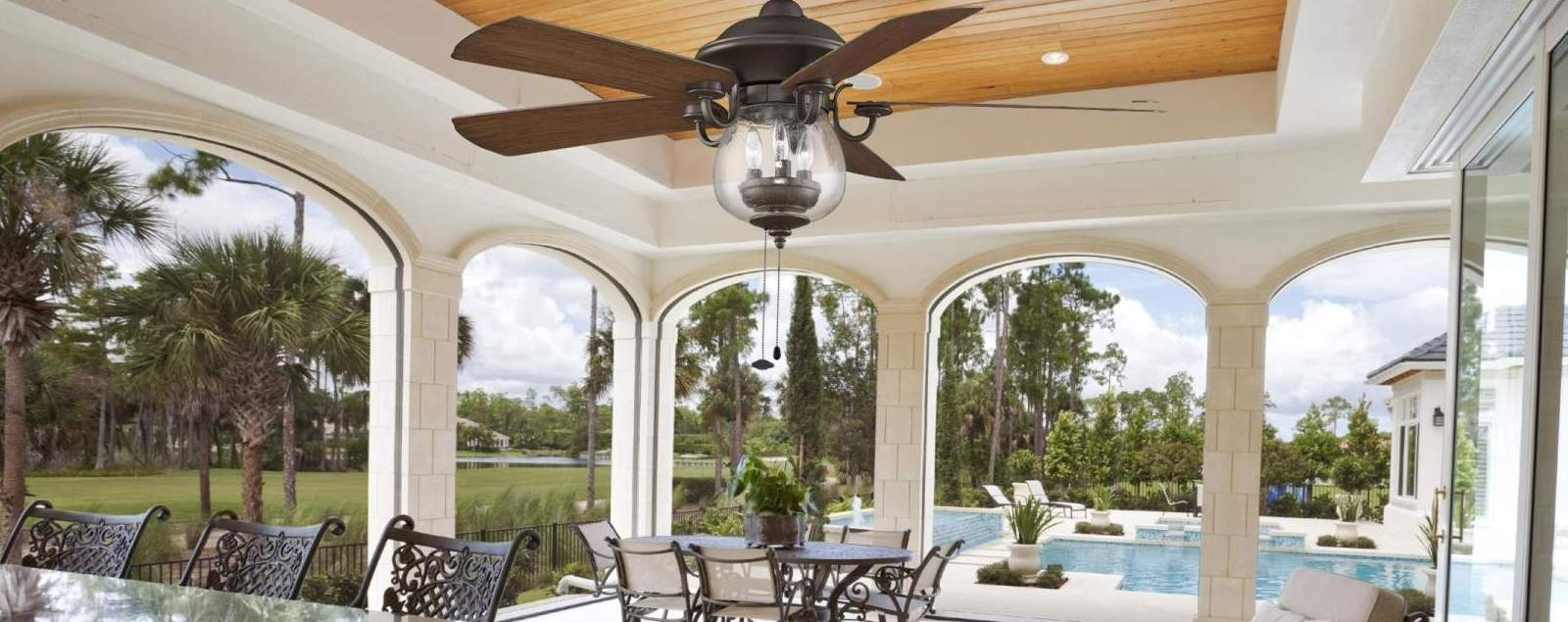 Tropical Design Outdoor Ceiling Fans Pertaining To Fashionable Outdoor Ceiling Fans – Shop Wet, Dry, And Damp Rated Outdoor Fans (View 14 of 20)