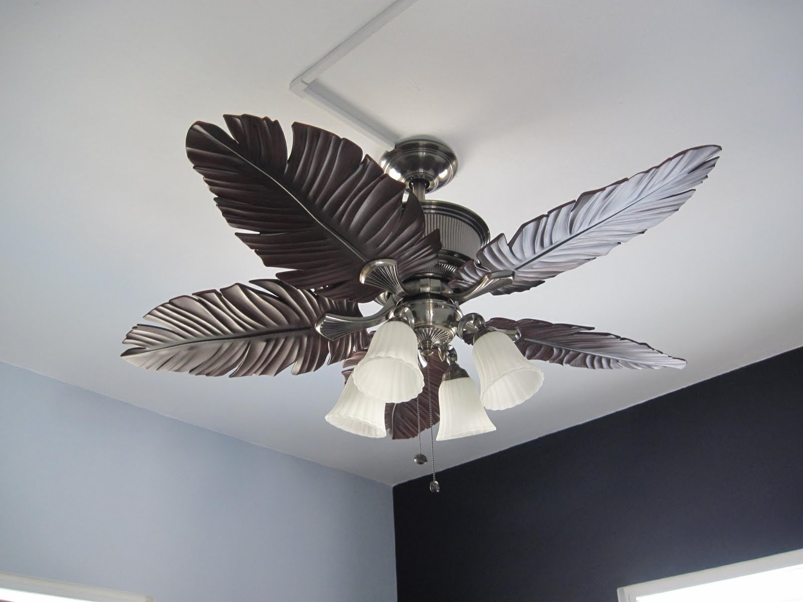 Tropical Design Outdoor Ceiling Fans Pertaining To Trendy Ceiling Lights : Tropical Ceiling Fans With Lights For Low Ceilings (View 15 of 20)