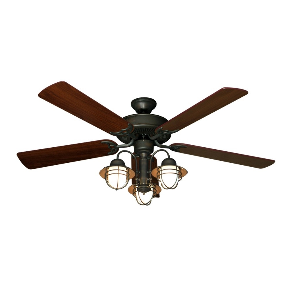 "Unique Outdoor Ceiling Fans With Widely Used 52"" Nautical Ceiling Fan With Light – Oil Rubbed Bronze – Unique Styling (View 17 of 20)"