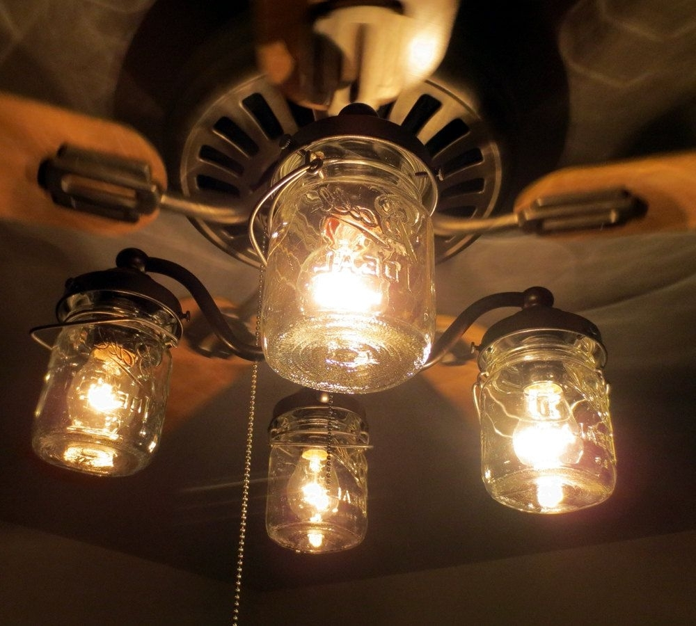 Vintage Outdoor Ceiling Fans With Regard To Trendy Mason Jar Ceiling Fan Light Kit Only With Vintage Pints – Farmhouse (View 16 of 20)