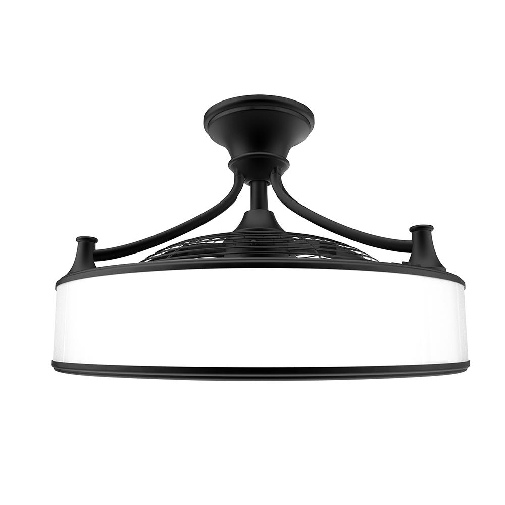 Well Known Enclosed Outdoor Ceiling Fans Throughout Indoor Outdoor Ceiling Fan Light Frosted Glass 22In Black Vintage (View 19 of 20)