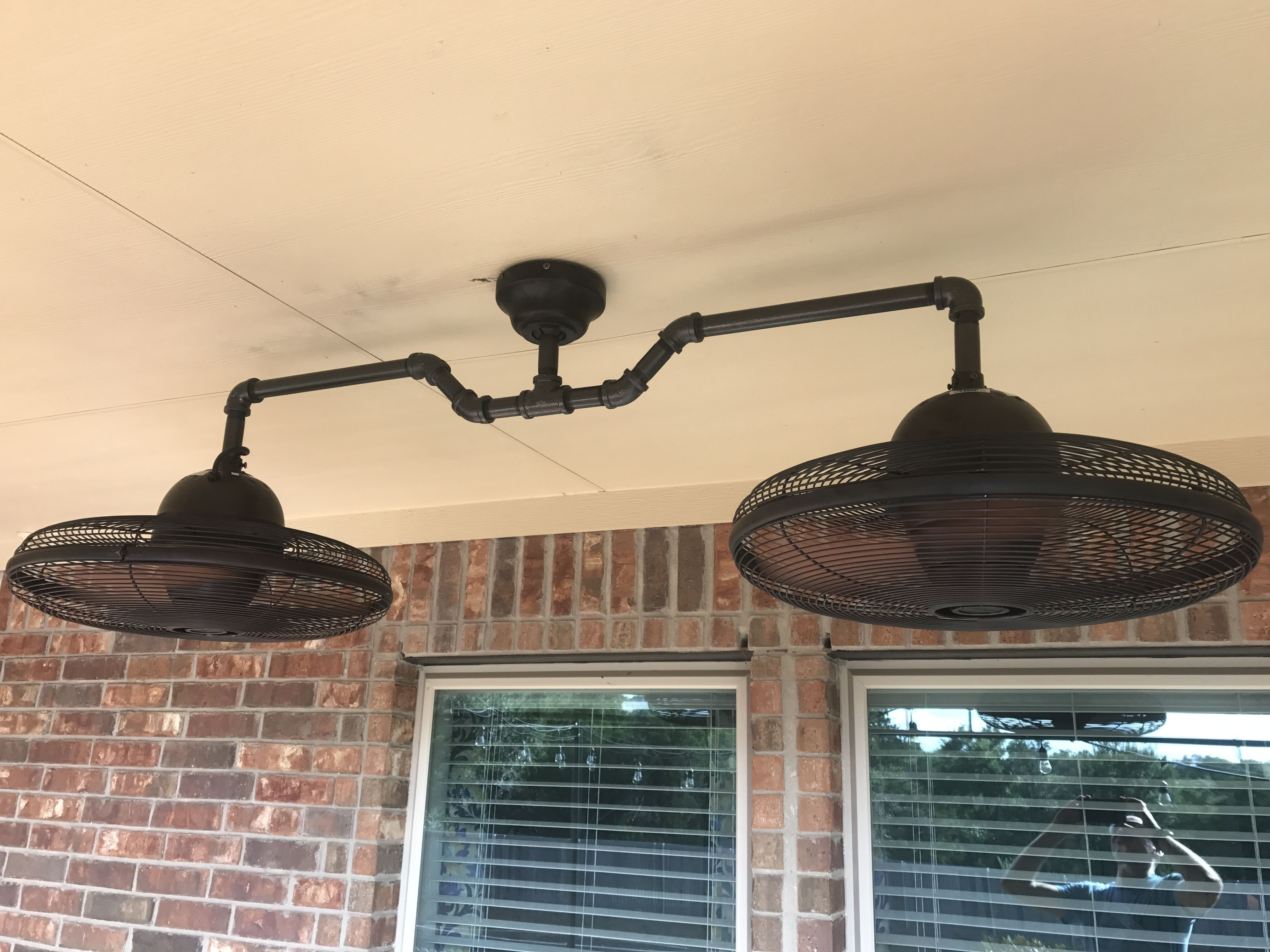 Well Known Outdoor Ceiling Fans With Guard Regarding Diy Dual Ceiling Fan Made From Black Iron Pipe And Lowes Allen + (View 19 of 20)