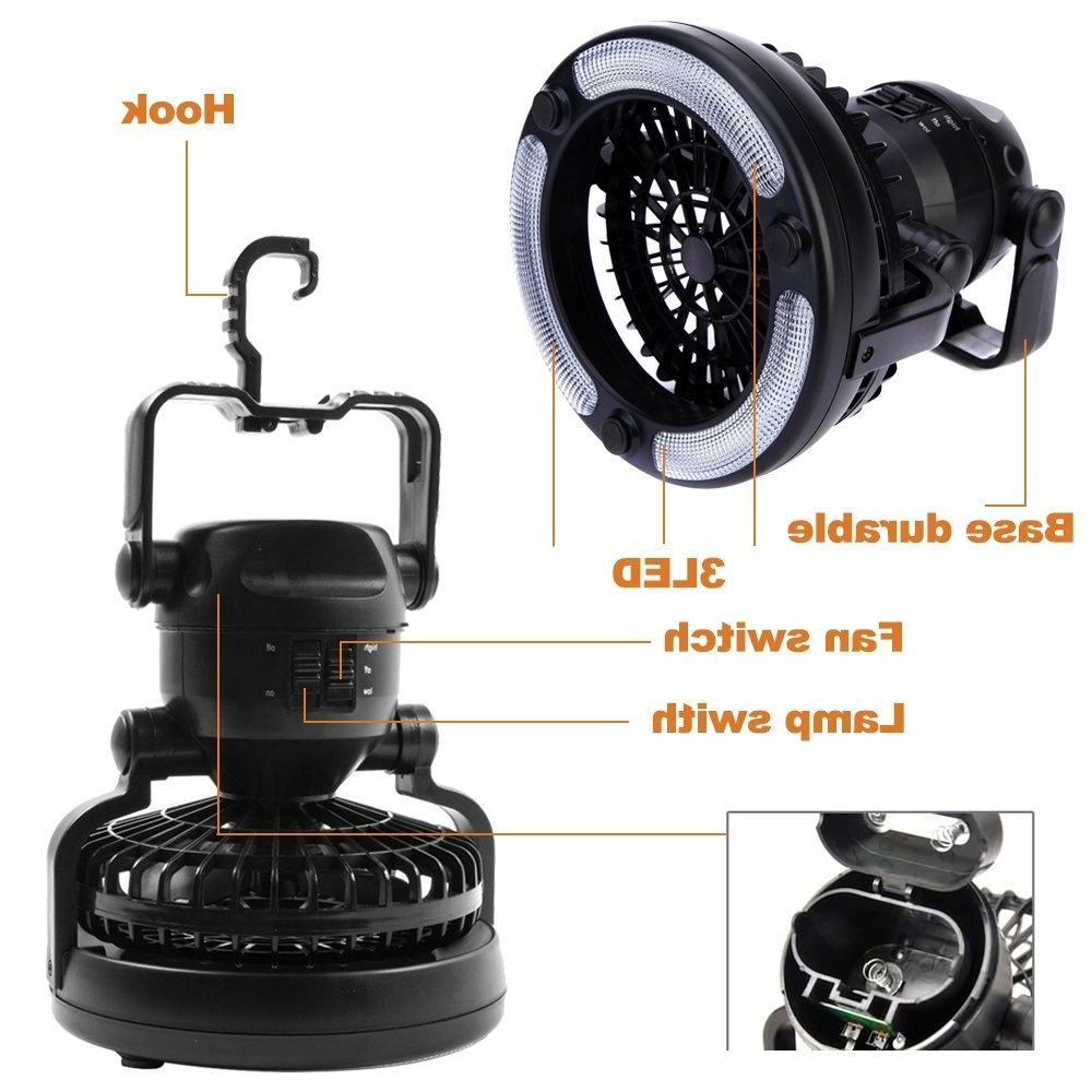 Well Known Outdoor Ceiling Fans With Lantern Light Within 2 In 1 Led Tent Camping Lantern Light Ceiling Fan Outdoor Hiking (View 17 of 20)