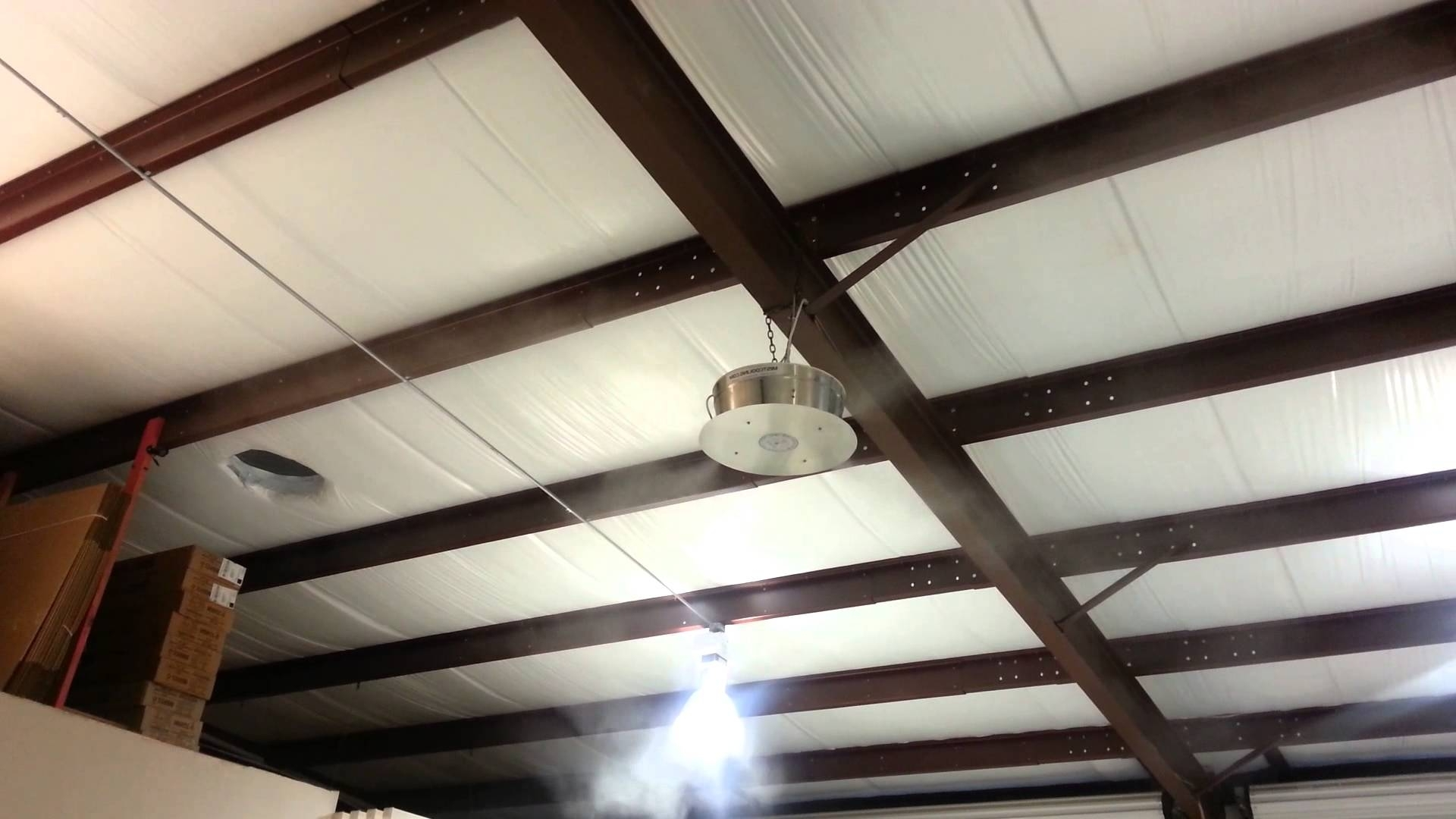 Well Known Outdoor Ceiling Fans With Misters Throughout How To Cool Warehouse With 360 Misting Fan – Youtube (View 20 of 20)
