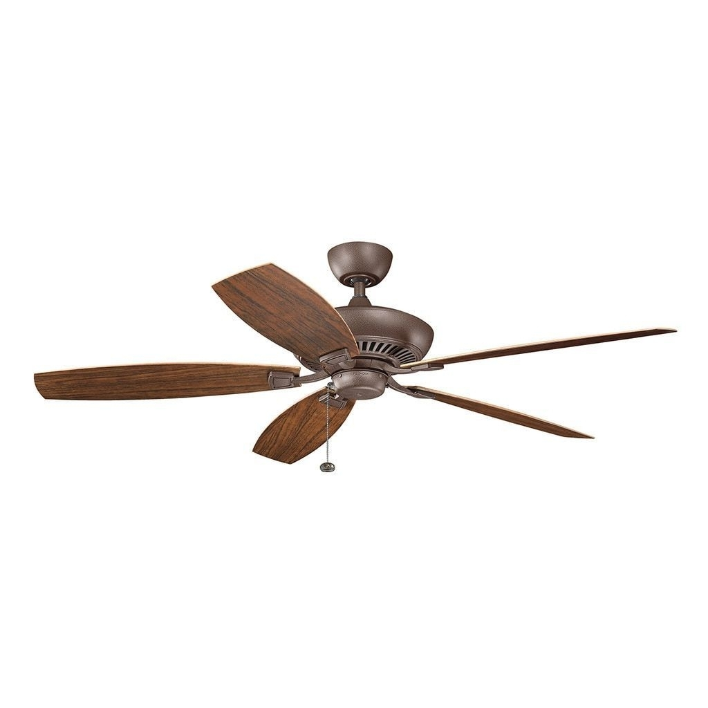 Well Known Outdoor Ceiling Fans With Pull Chains With Kichler Lighting Canfield Collection 60 Inch Tannery Bronze Powder (View 19 of 20)