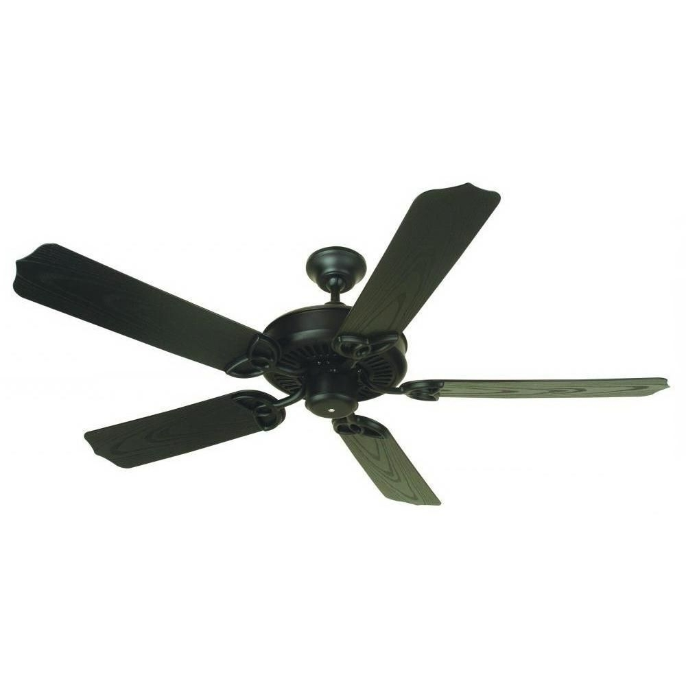 Well Known Outdoor Electric Ceiling Fans Pertaining To Craftmade Opxl52Fb Traditional Ceiling Fan 52 Inch 5 Blade Flat (View 19 of 20)