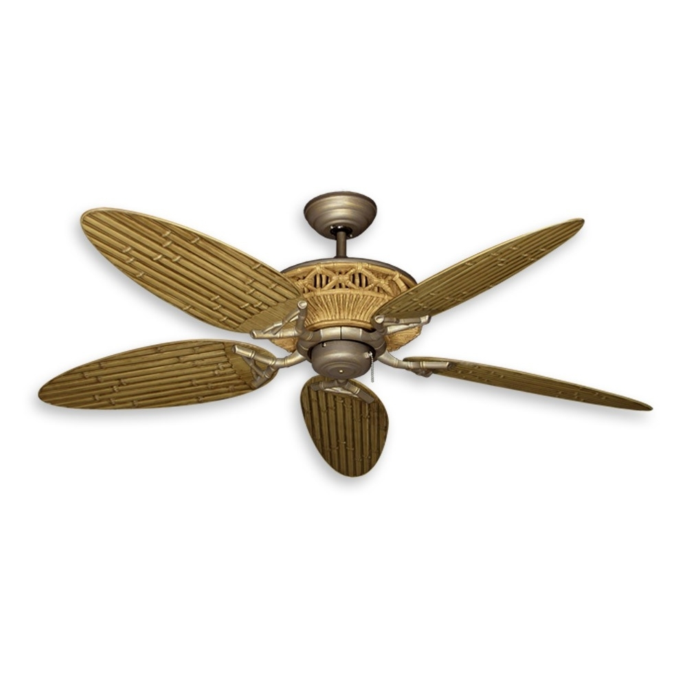 "Well Known Wicker Outdoor Ceiling Fans With Lights For 52"" Tiki Outdoor Bamboo Ceiling Fan – Natural Finish With Antique (View 14 of 20)"