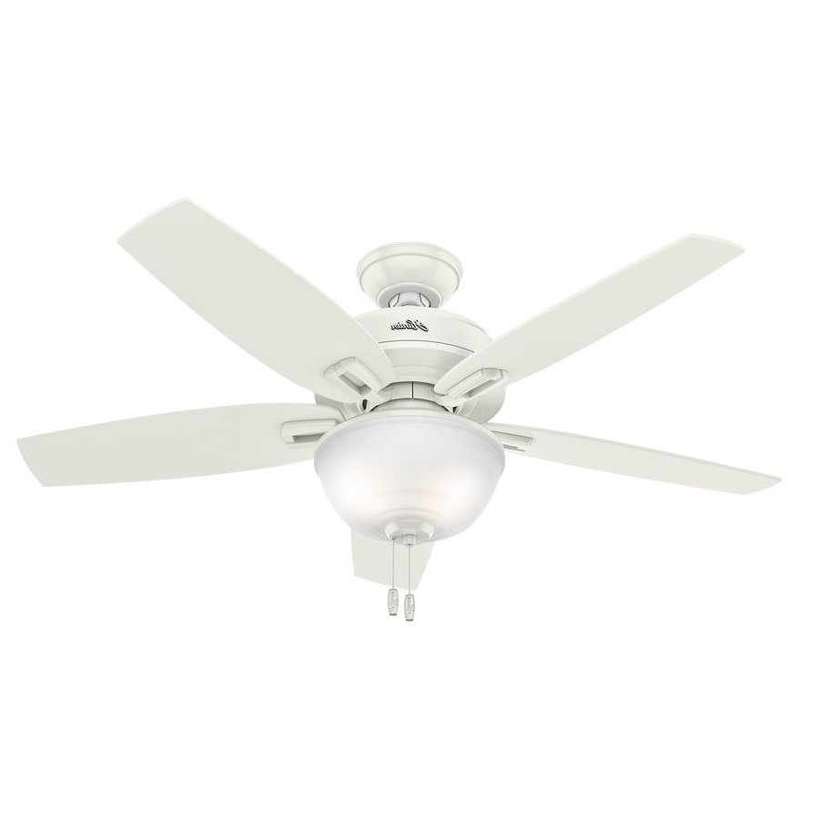 Well Liked 48 Outdoor Ceiling Fans With Light Kit With Regard To Hunter Wetherby Cove 48 In Fresh White Downrod Or Close Mount Indoor (View 19 of 20)