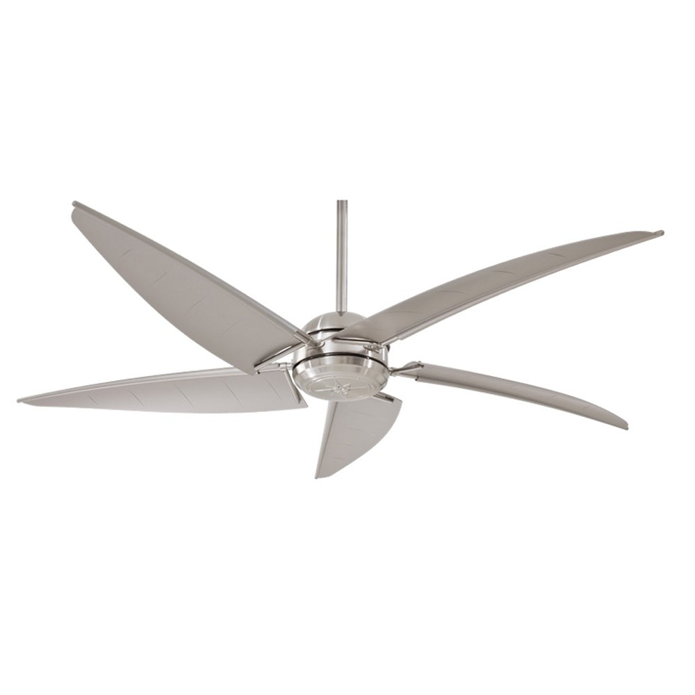 "Well Liked Brushed Nickel Outdoor Ceiling Fans With Light For Minka Aire Magellan F579 L Bnw 60"" Outdoor Ceiling Fan With Light (View 10 of 20)"