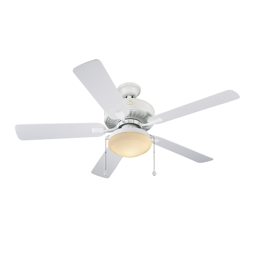 White Outdoor Ceiling Fans With Lights Within Well Known Shop Harbor Breeze Cape Coast 52 In White Downrod Mount Indoor (View 19 of 20)