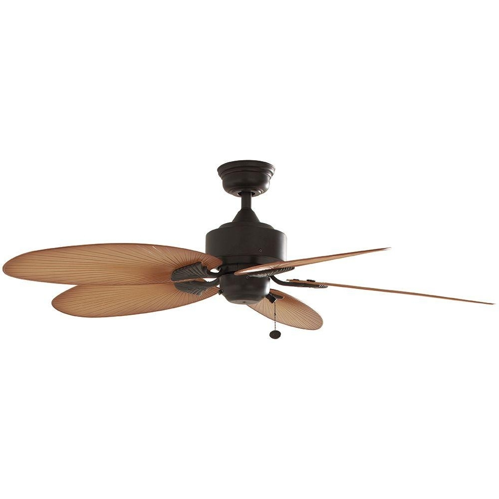Widely Used Outdoor Ceiling Fans With Palm Blades Regarding Hampton Bay Lillycrest 52 In (View 19 of 20)