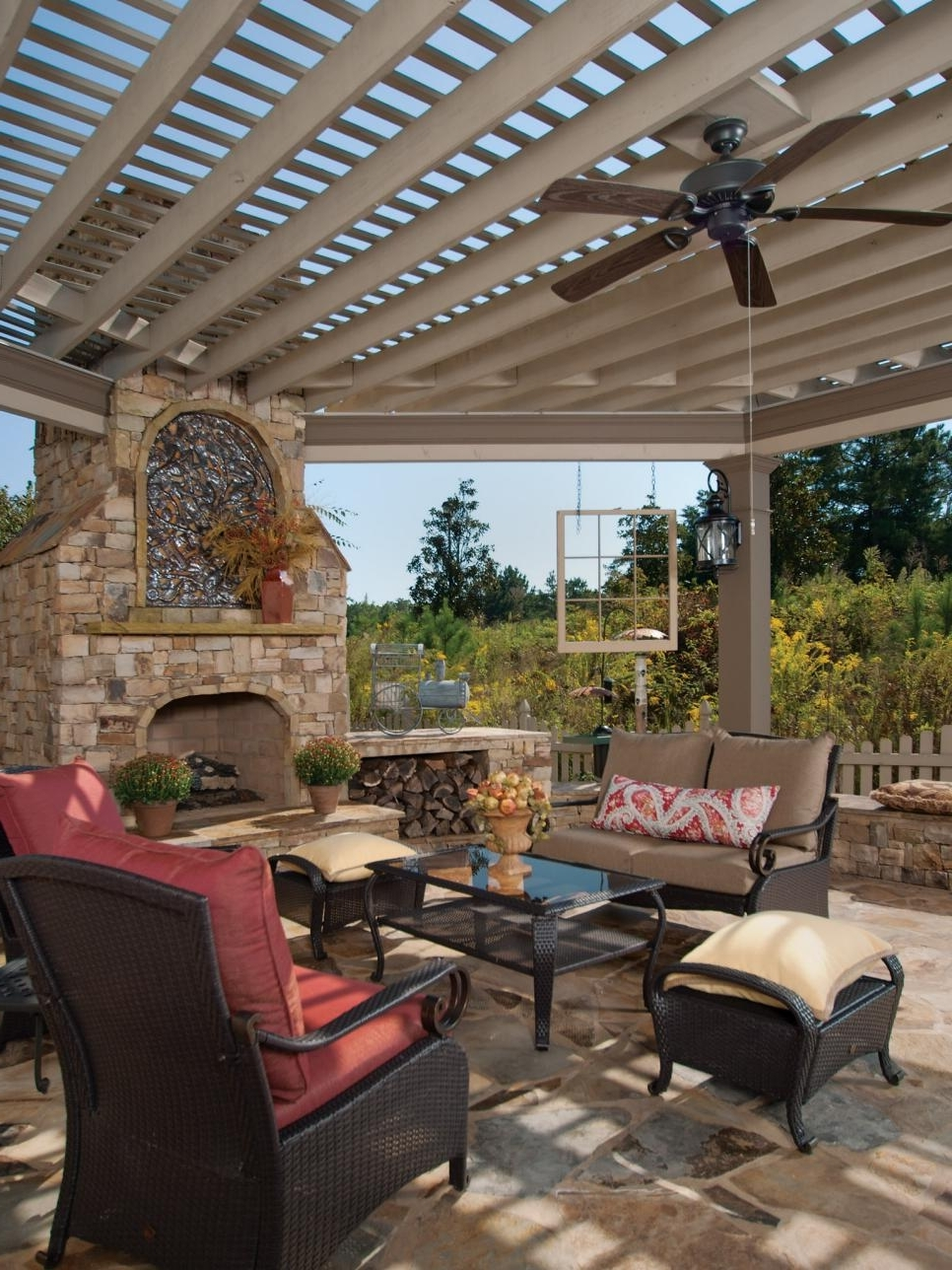 Widely Used Wicker Outdoor Ceiling Fans Intended For Ideas: Enchanting Patio Design With White Pergola Design And (View 16 of 20)