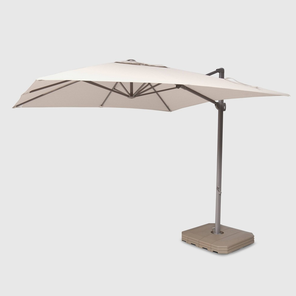 10' Square Offset Patio Umbrella Beige – Ash Pole – Project 62 In Intended For 2020 Jendayi Square Cantilever Umbrellas (View 9 of 20)