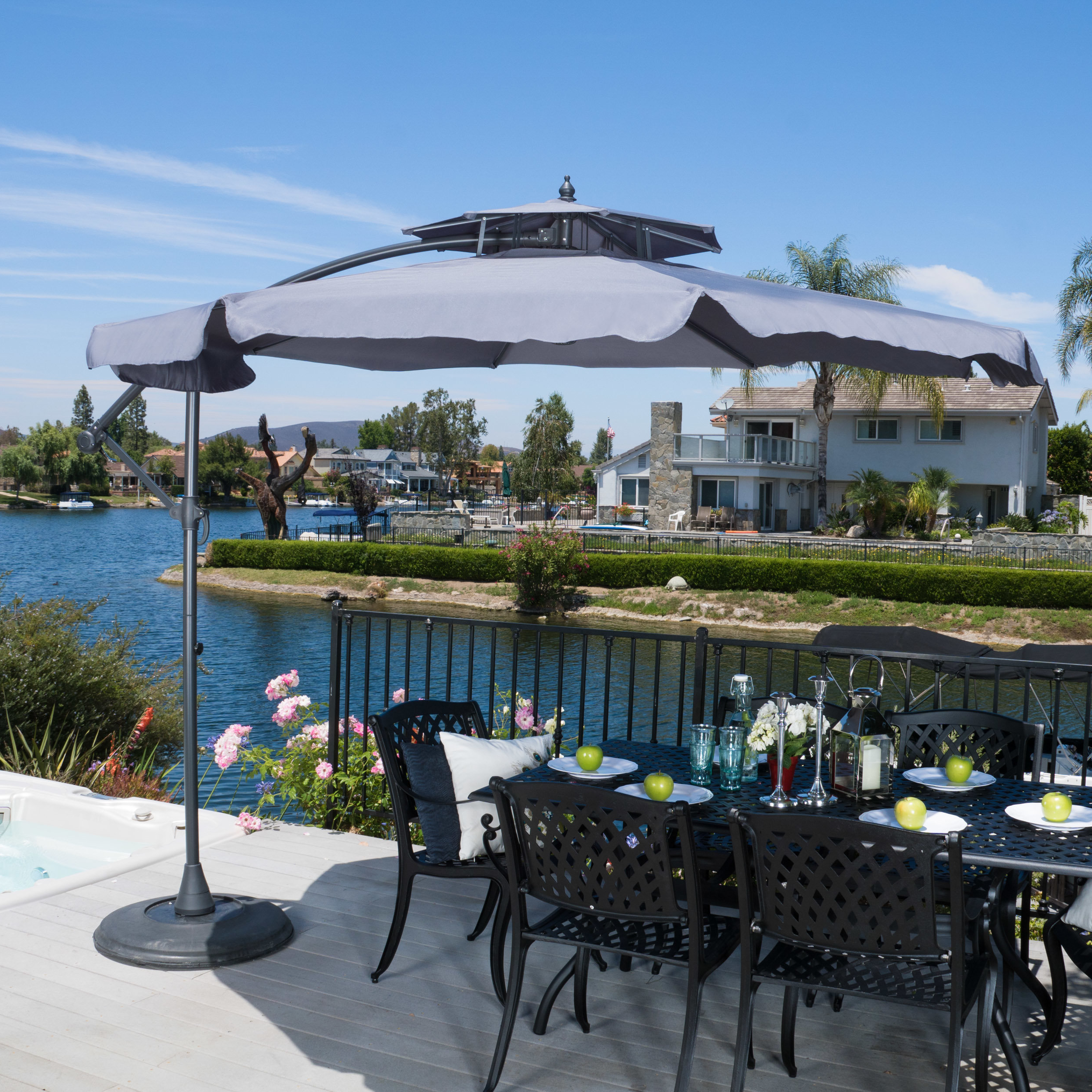 10' Waverly Cantilever Umbrella With Current Tottenham Patio Hanging Offset Cantilever Umbrellas (View 1 of 20)