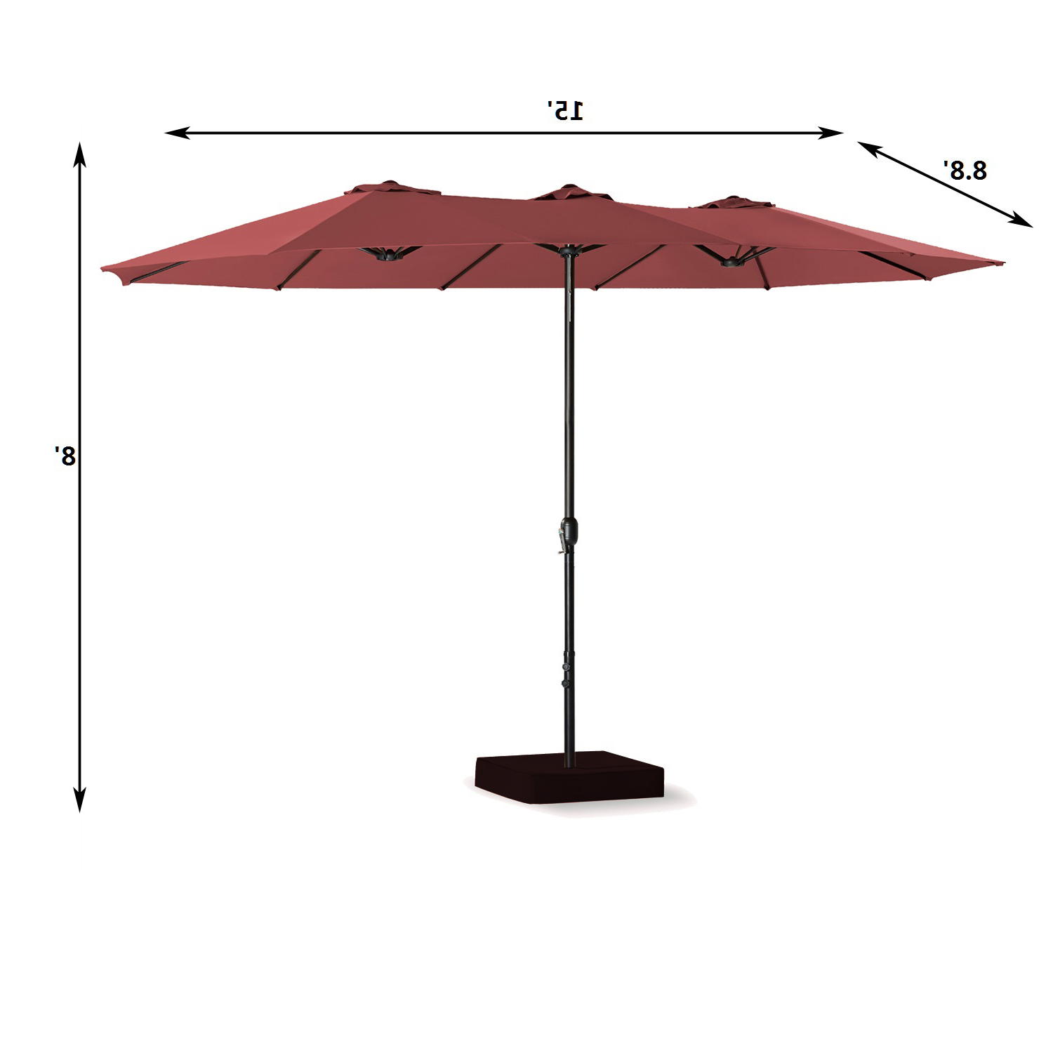 [%15 Ft Double Sided Outdoor Market Umbrella 12 Ribs, Crank System, 100%  Polyester, Base Included (Red) With Most Up To Date Zadie Twin Rectangular Market Umbrellas|Zadie Twin Rectangular Market Umbrellas For Recent 15 Ft Double Sided Outdoor Market Umbrella 12 Ribs, Crank System, 100%  Polyester, Base Included (Red)|2019 Zadie Twin Rectangular Market Umbrellas For 15 Ft Double Sided Outdoor Market Umbrella 12 Ribs, Crank System, 100%  Polyester, Base Included (Red)|Most Current 15 Ft Double Sided Outdoor Market Umbrella 12 Ribs, Crank System, 100%  Polyester, Base Included (Red) With Regard To Zadie Twin Rectangular Market Umbrellas%] (View 1 of 20)