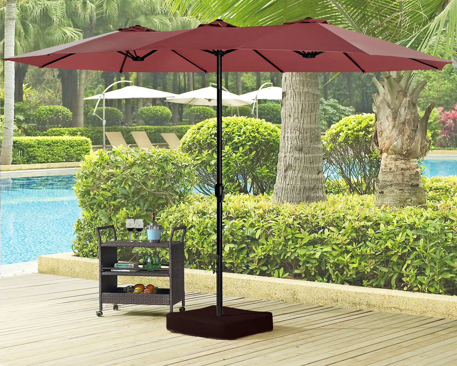[%15 Ft Double Sided Outdoor Market Umbrella 12 Ribs, Crank System, 100%  Polyester, Base Included (Red) Within Widely Used Zadie Twin Rectangular Market Umbrellas|Zadie Twin Rectangular Market Umbrellas For Most Current 15 Ft Double Sided Outdoor Market Umbrella 12 Ribs, Crank System, 100%  Polyester, Base Included (Red)|Most Recent Zadie Twin Rectangular Market Umbrellas In 15 Ft Double Sided Outdoor Market Umbrella 12 Ribs, Crank System, 100%  Polyester, Base Included (Red)|Favorite 15 Ft Double Sided Outdoor Market Umbrella 12 Ribs, Crank System, 100%  Polyester, Base Included (Red) With Regard To Zadie Twin Rectangular Market Umbrellas%] (View 2 of 20)
