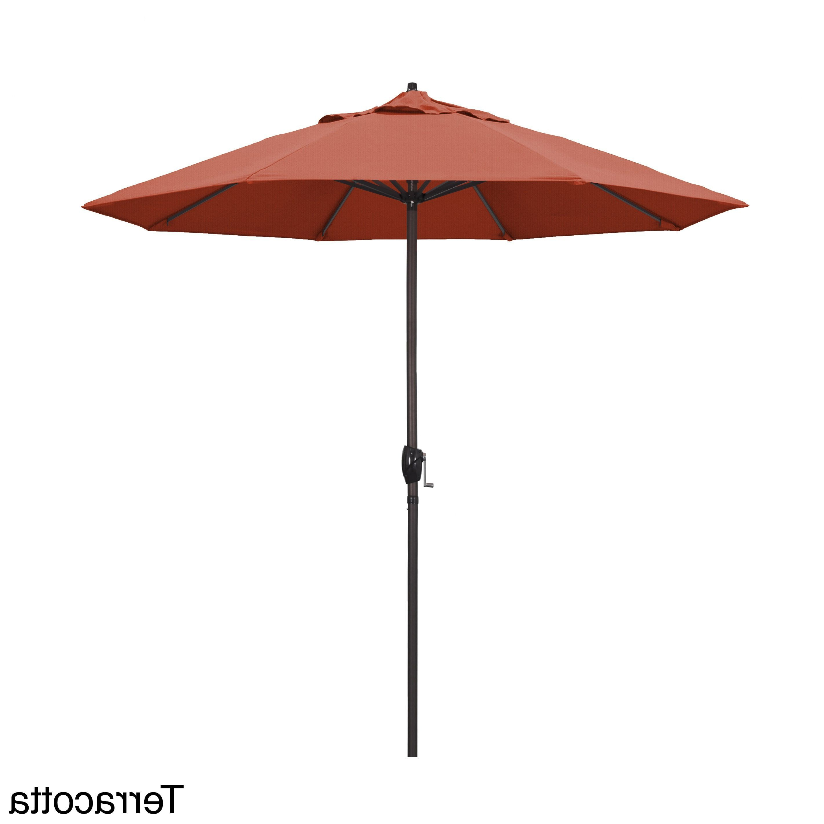 2019 California Umbrella 9 Foot Round Aluminum Market Umbrella In Bronze With Dena Rectangular Market Umbrellas (Gallery 14 of 20)