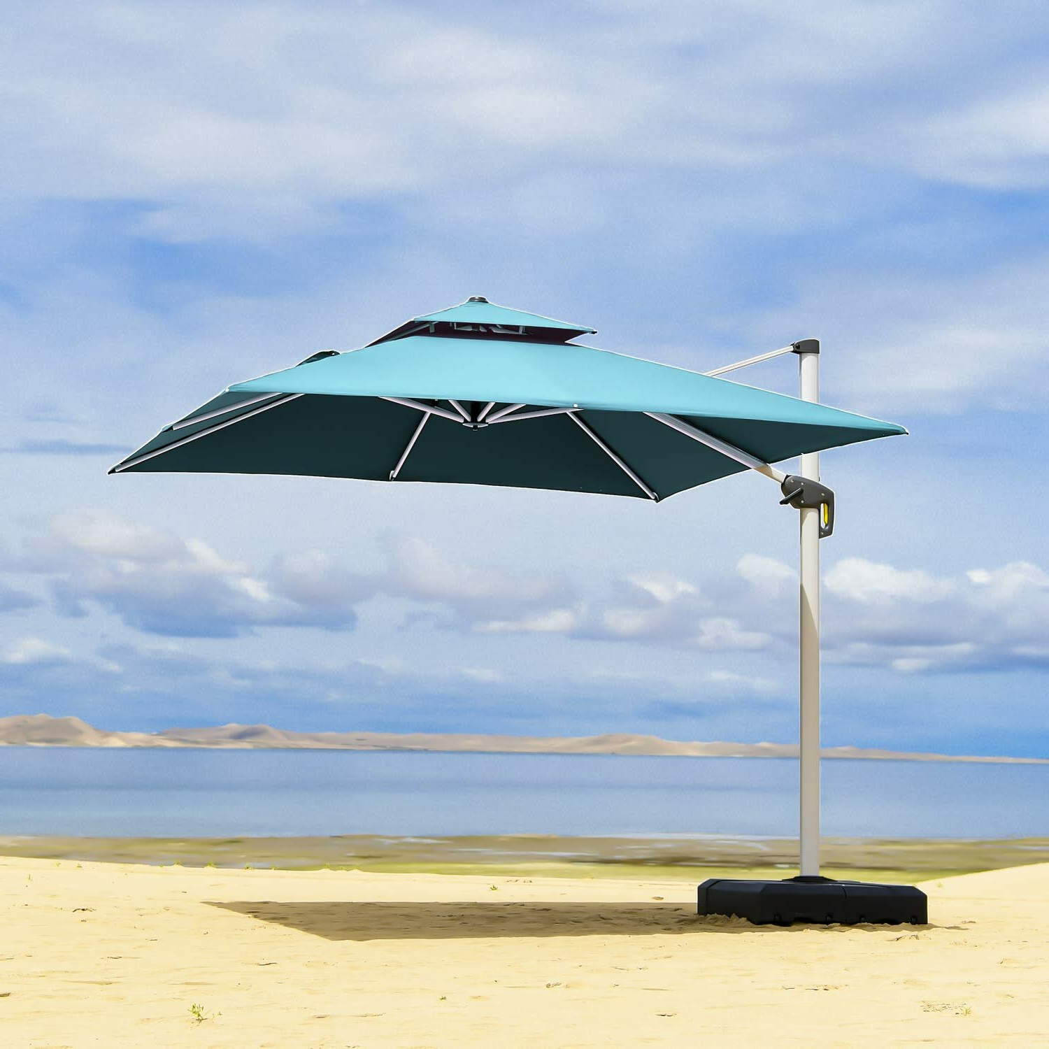 2019 Freeport Park Maidste 9' Square Cantilever Umbrella Intended For Maidste Square Cantilever Umbrellas (Gallery 8 of 20)