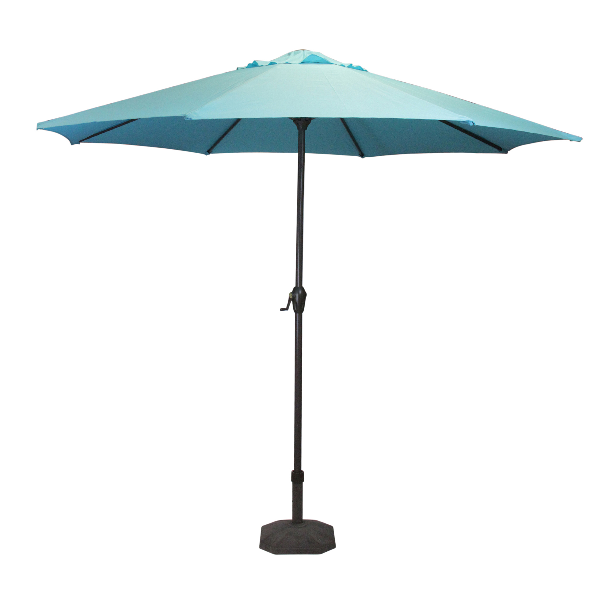2019 Lb International 8' Octagon Solid Outdoor Patio Market Umbrella With Hand Crank And Tilt – Blue/brown Regarding Solid Market Umbrellas (Gallery 1 of 20)
