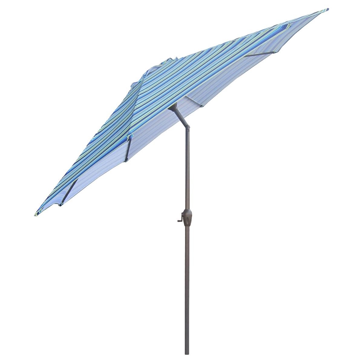 2019 Lb International 9ft. Striped Patio Umbrella W/ Hand Crank & Tilt For Caravelle Market Umbrellas (Gallery 18 of 20)