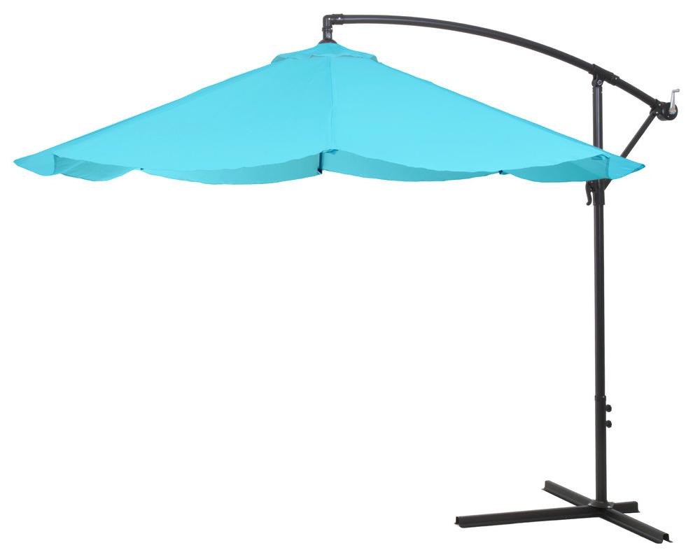 2019 Pure Garden Offset 10 Foot Aluminum Hanging Patio Umbrella, Blue Pertaining To Alder Half Round Outdoor Patio Market Umbrellas (View 16 of 20)