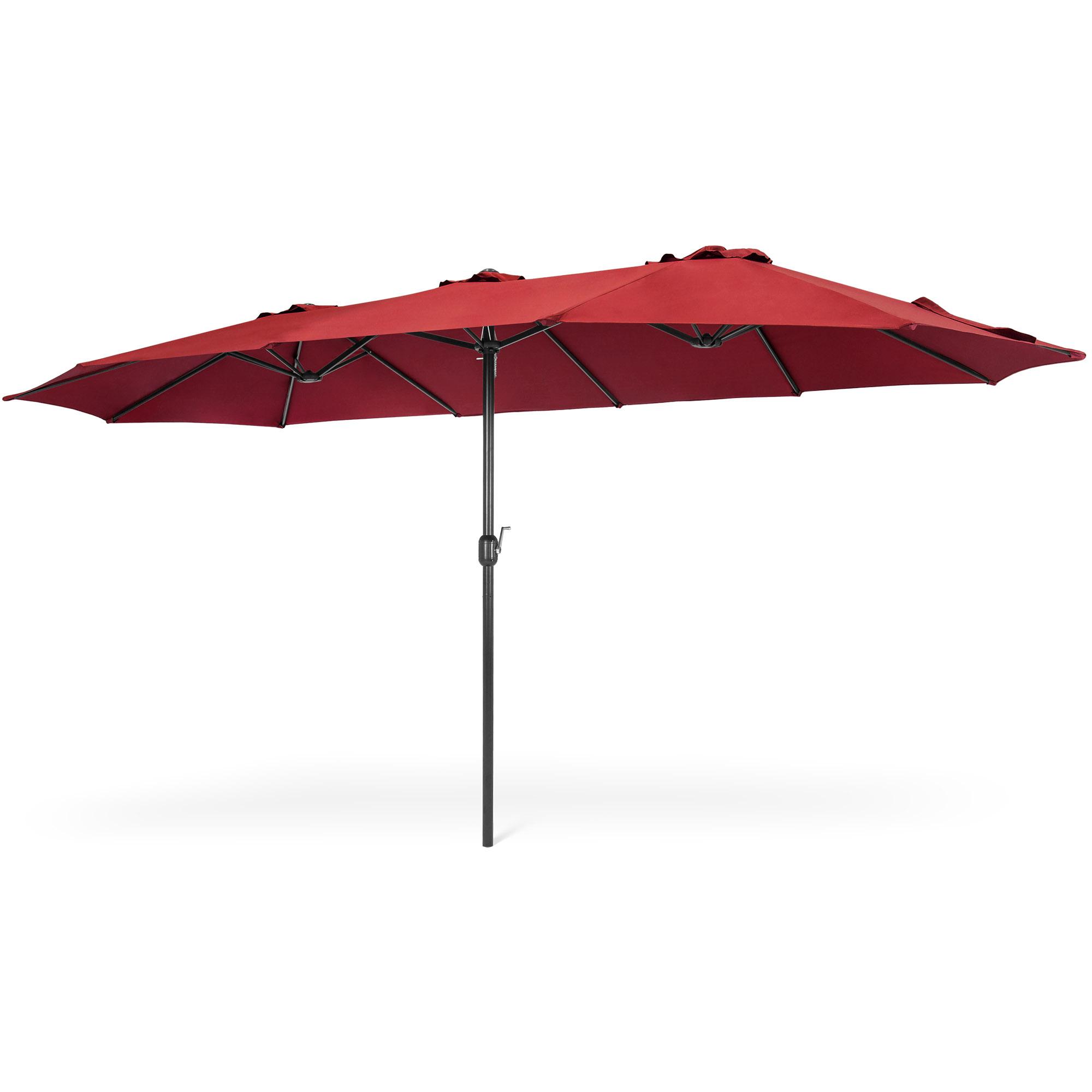2019 Solid Rectangular Market Umbrellas With Regard To Best Choice Products 15X9Ft Large Rectangular Outdoor Aluminum Twin Patio  Market Umbrella W/ Crank, Wind Vents (View 1 of 20)