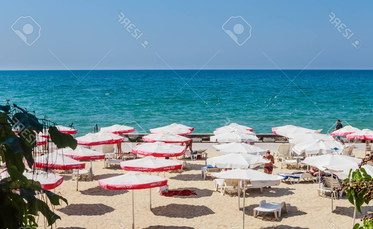 2019 The Balchik Seaside, Beach With Sands, Sun Umbrellas And Blue. (View 1 of 20)