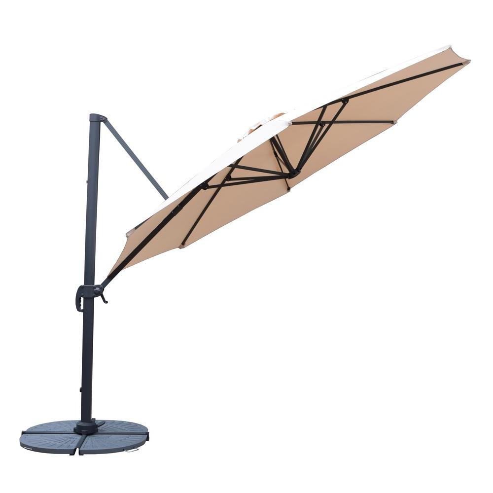 2020 11 Ft. Cantilever Patio Umbrella In Beige With Crank And 4 Piece Cast Poly Base Regarding Kedzie Outdoor Cantilever Umbrellas (Gallery 6 of 20)