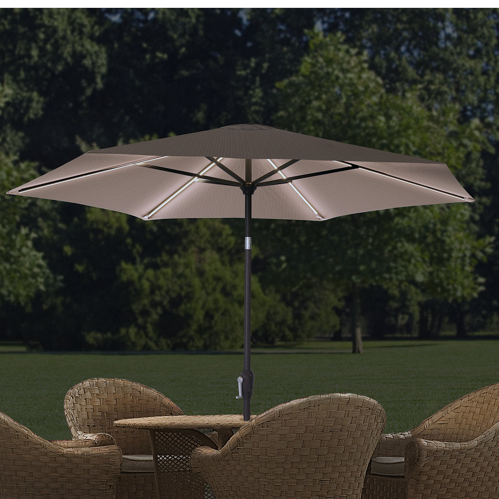 2020 Eastwood Market Umbrellas Pertaining To 9 Ft. Led Hexagonal Market Umbrella (Gallery 13 of 20)