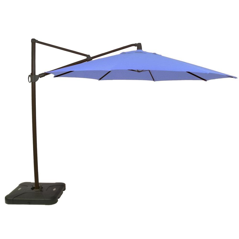 2020 Hampton Bay 11 Ft. Aluminum Cantilever Tilt Patio Umbrella In Denim Canvas  With Black Pole Intended For Hurt Market Umbrellas (Gallery 6 of 20)