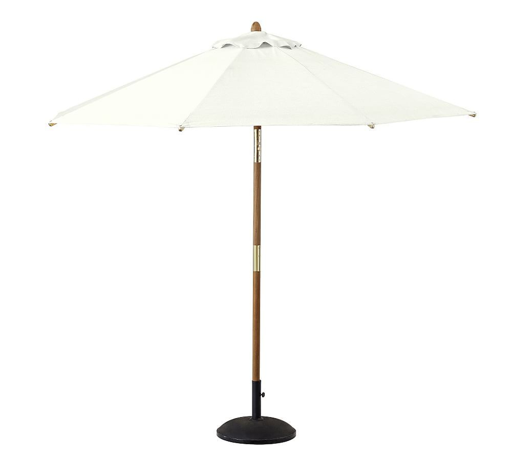 2020 Julian Market Sunbrella Umbrellas With 9' Teak Round Umbrella – Premium, Sunbrella(r) Awning Stripe, Gray (View 13 of 20)