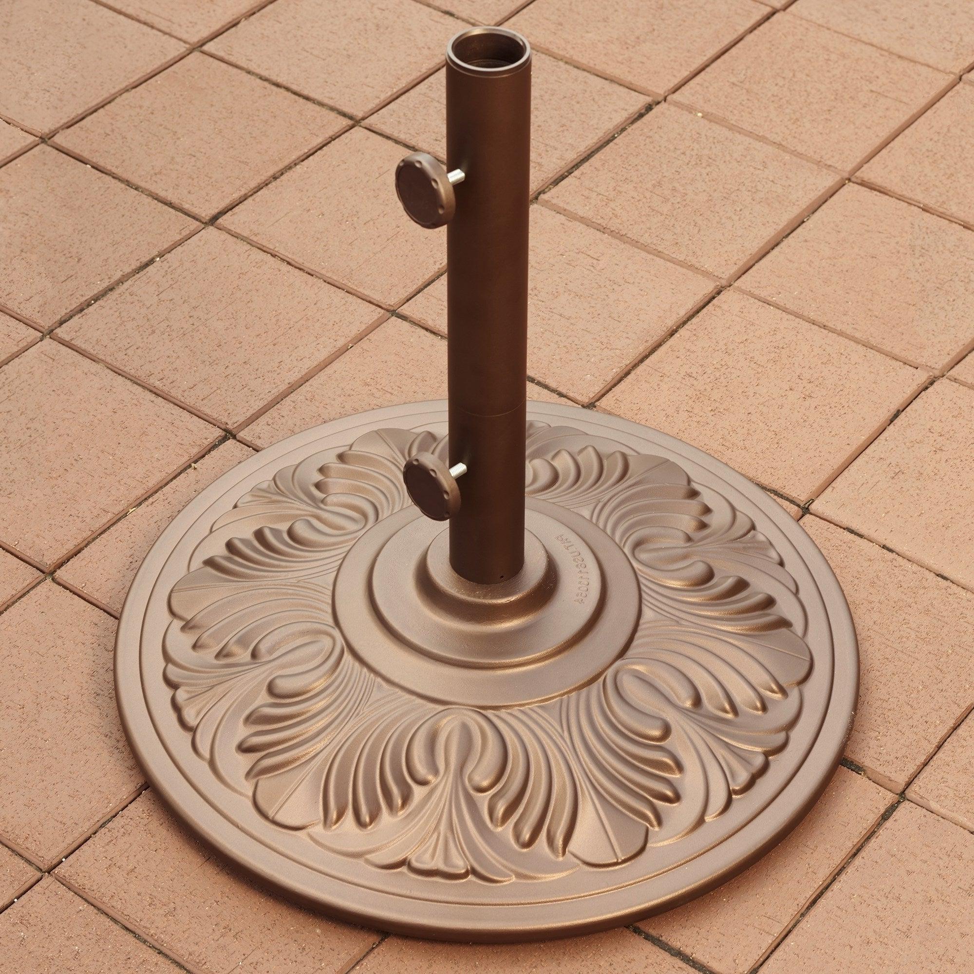 2020 Lora Market Umbrellas Pertaining To 50 Lb. Art Deco Aluminum Umbrella Base In Bronze (Gallery 12 of 20)