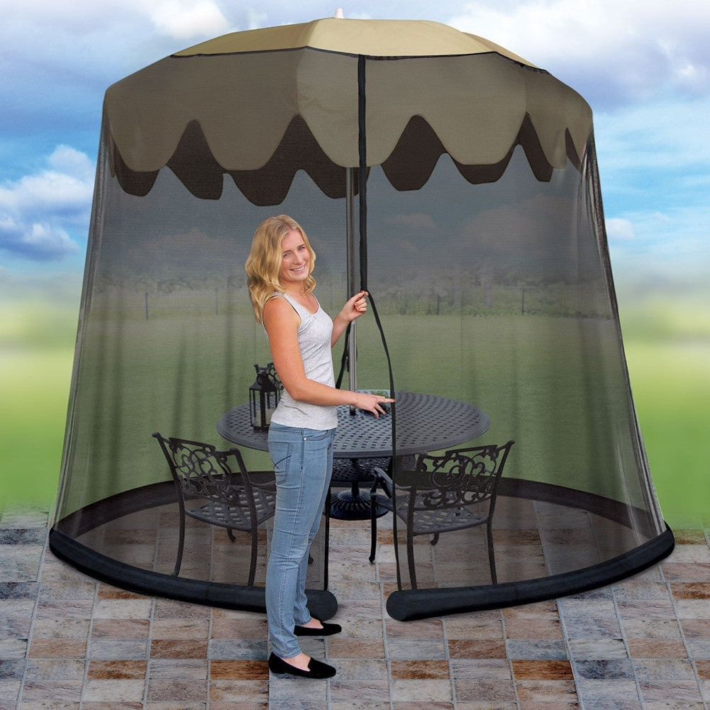 2020 Outdoor Umbrella Drape Mesh Bug Screen – Fits 9 Foot Umbrella Regarding Drape Umbrellas (View 4 of 20)